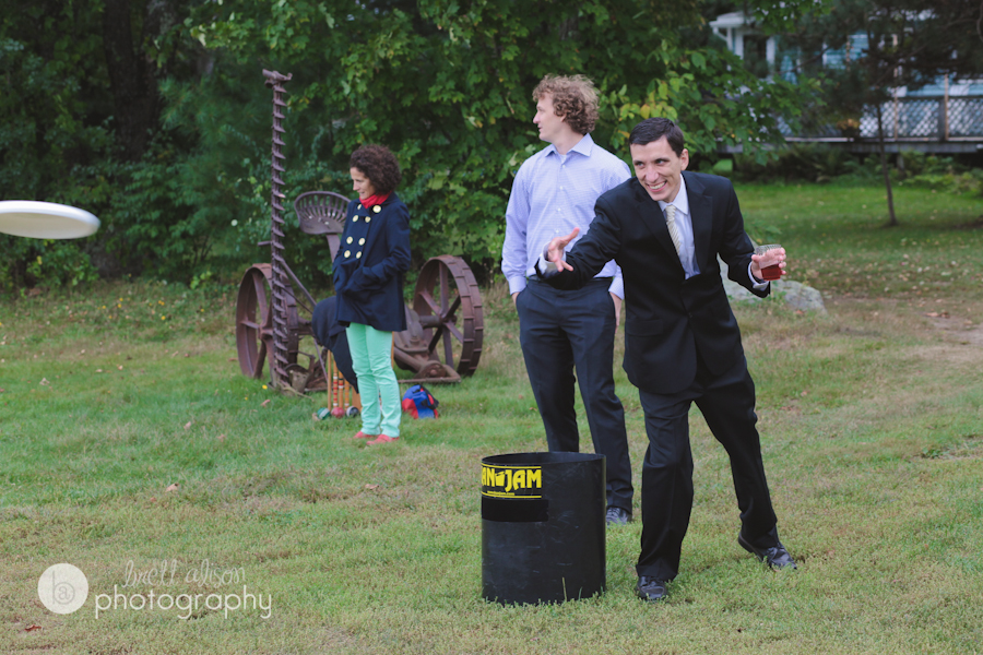 fun frisbee at wedding