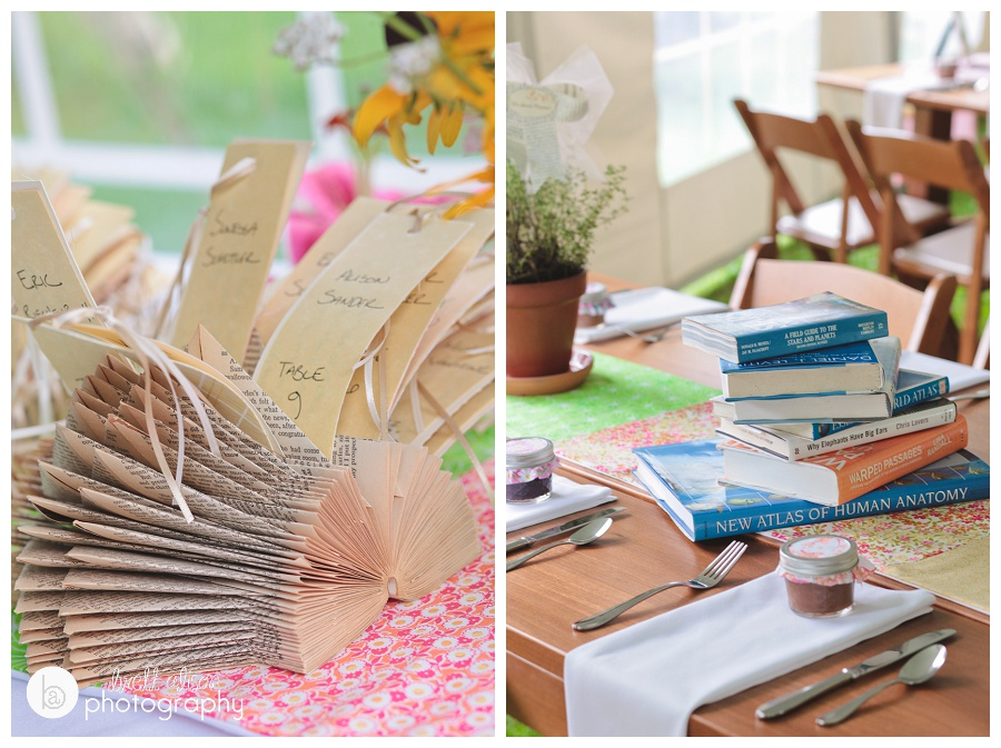 book themed wedding details