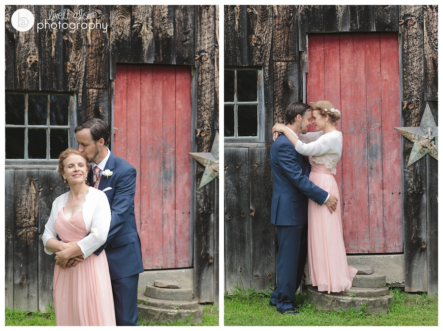wedding photos in front of barn vermont