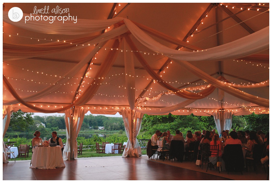 tent with lights at plimoth plantation wedding
