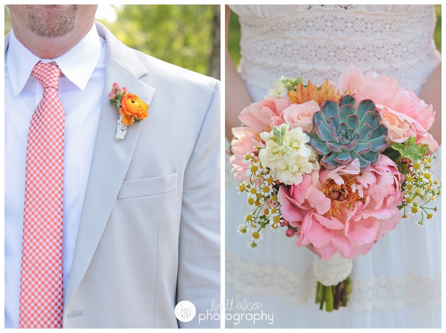 gorgeous summer wedding details pink and orange flowers