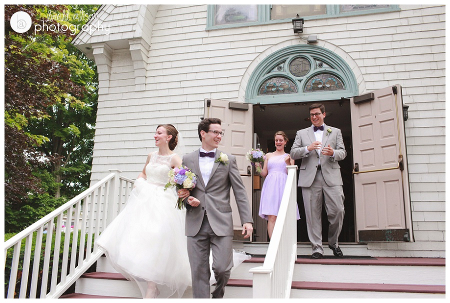 white steeple new england church wedding