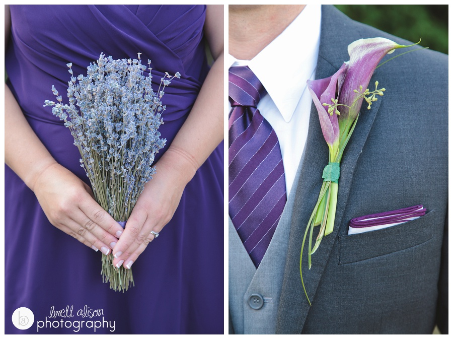 lavender and lily wedding details flowers