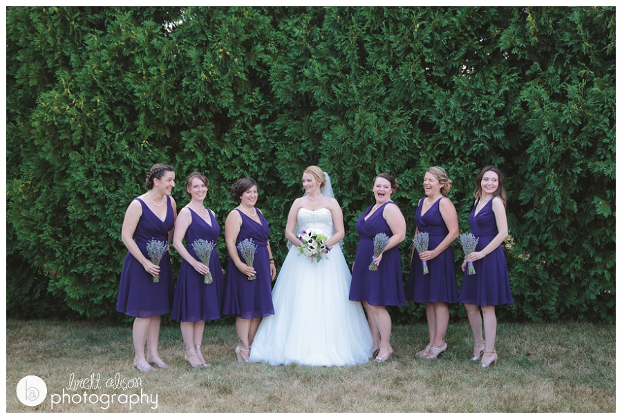 bridesmaids in purple summer wedding