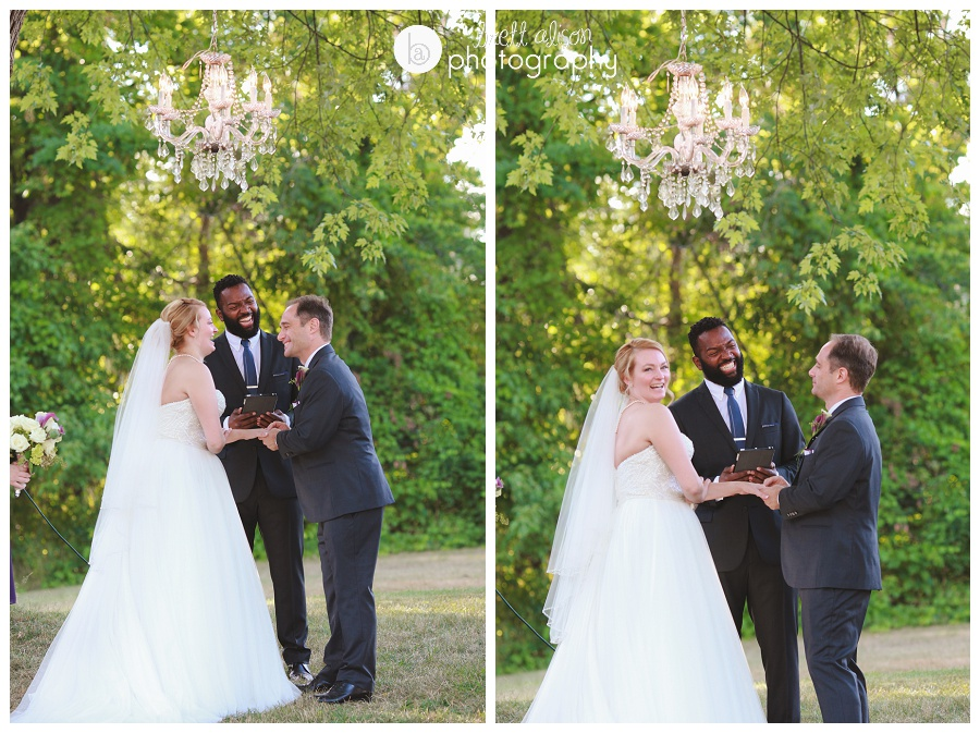 outdoor wedding ceremony with chandelier in tree