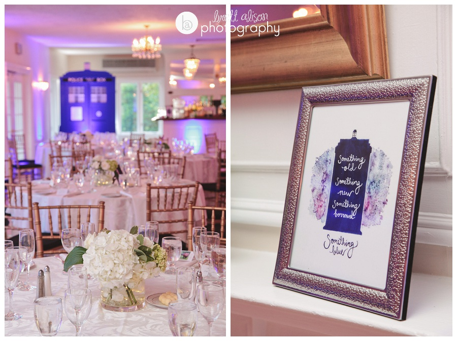doctor who themed wedding photos details tardis