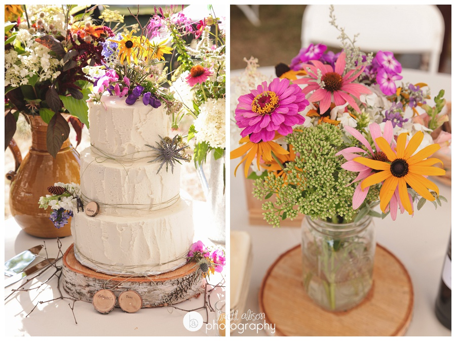 wildflowers and natural wedding cake details
