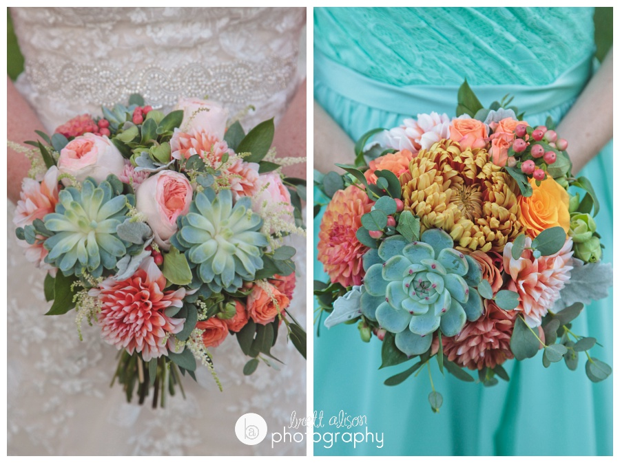 gorgeous orange green and pink wedding bouquets